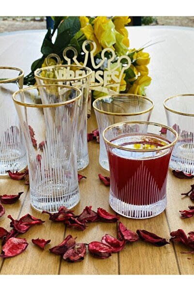 Paşabahçe Azur Eyfel Çizgili Gold Yaldızlı  Su ve Meşrubat Bardağı 6 Kişilik 12 Parça