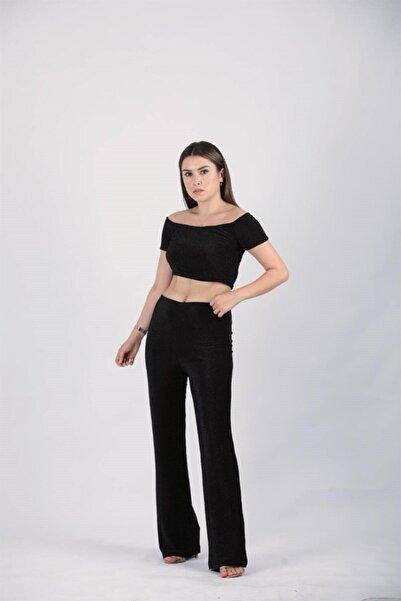 giyimmasalı Kadın Siyah Simli Bustiyer Pantolon Takım