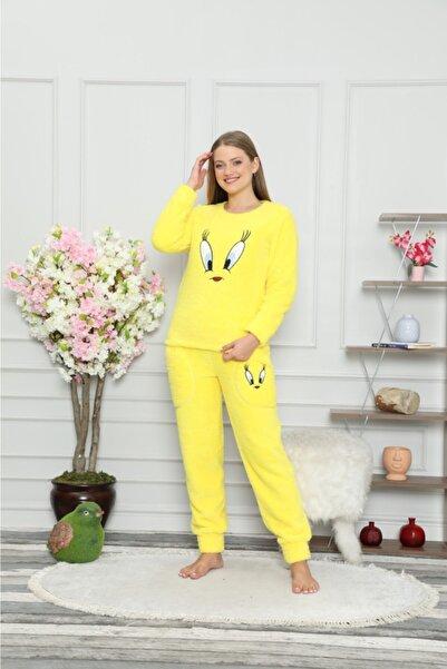 PIJAMAHOME Kadın Sarı Kışlık Peluş Pijama Takımı