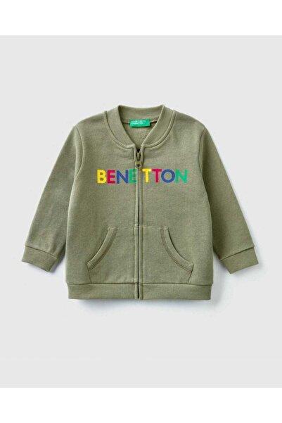 United Colors of Benetton Erkek Çocuk Haki Benetton Yazılı Sweatshirt