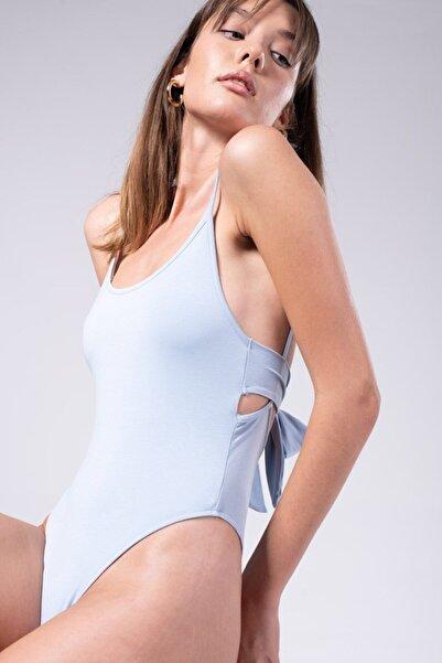 IAMNOTBASIC Kadın Mavi Sırtı Bağlamalı Alora Bodysuit