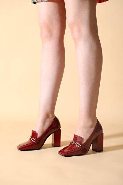 ALTINAYAK Kadın Bordo Rugan Topuklu Ayakkabı