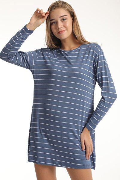 MD trend Kadın İndigo Uzun Kollu Çizgili Basic Salaş T-shirt