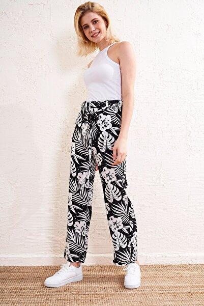 Eka Kadın Siyah Beyaz Desenli Kemerli Pantolon