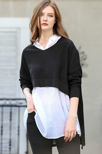 Chiccy Kadın Siyah Vintage önü kısa arkası uzun triko kazak M10010800KZ99464