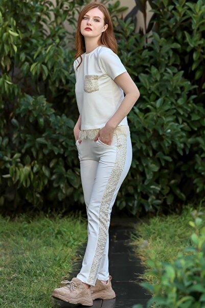 Chiccy Kadın Ekru Vintage pullu cepli dantel detay yanları pul şerit cepli eşofman takım M10410000ES99965