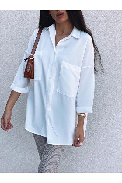 Kadın Beyaz Çift Cep Gömlek