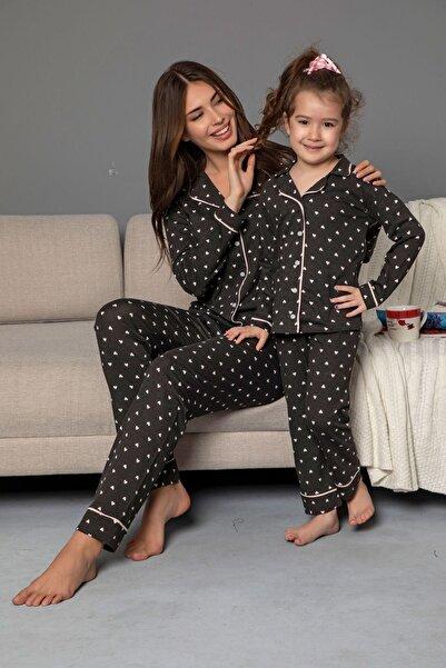 Siyah İnci Antrasit Pamuklu Likrali Biyeli Düğmeli Pijama Takım