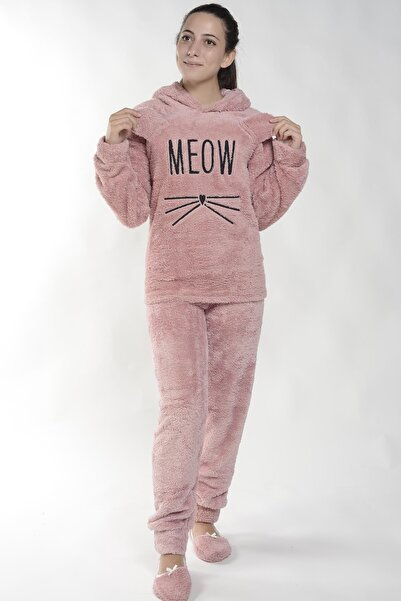 Pijamaevi Pembe Meow Desenli Tam Peluş Pijama Takımı