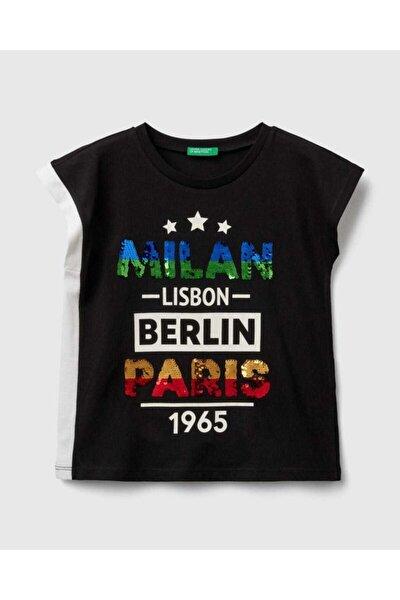 United Colors of Benetton Kız Çocuk Siyah Payetli Şehir Yazılı T-Shirt