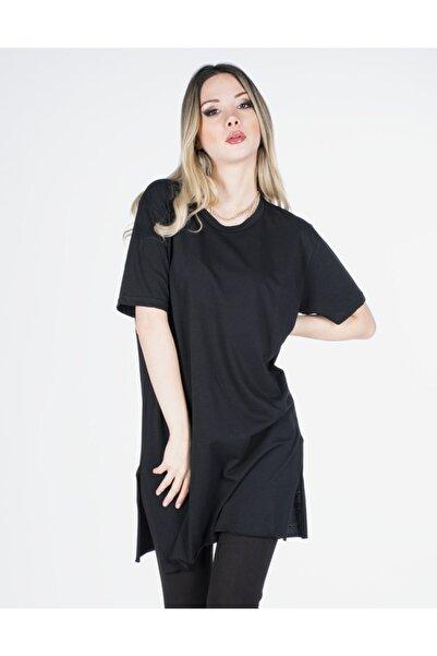 Vision Kadın Siyah Yırtmaç Detaylı Basic T-shirt
