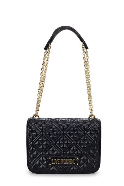 Love Moschino Kadın  Siyah Logo Baskılı Zincir Detaylı Çanta Jc4000pp1bla0000