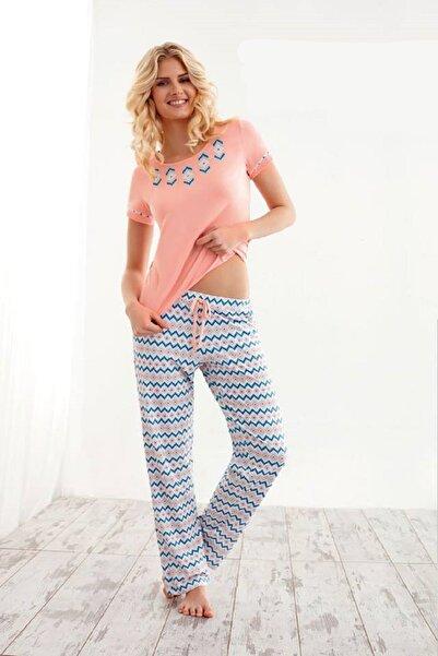 Doreanse Kadın Turuncu Kısa Kol Pijama Takımı