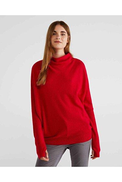 United Colors of Benetton Kadın Kırmızı Dik Yaka Bol Kesim Yünlü Kazak