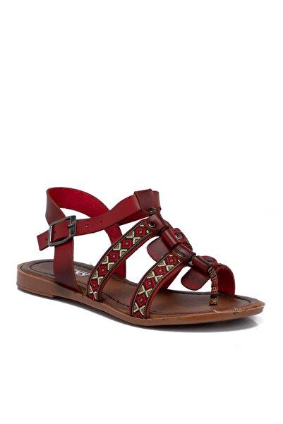 Tergan Kadın Kırmızı Deri  Sandalet 210121a30