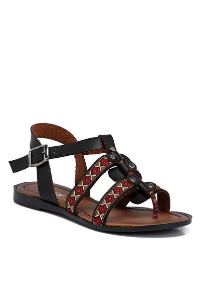 Tergan Kadın Siyah Deri Sandalet 210121a23