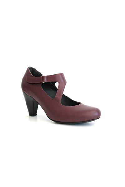 Beta Shoes Kadın Bordo Deri Topuklu Ayakkabı