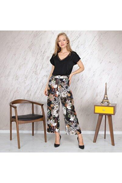 KOZAMODA Kadın Siyah Çiçek Desenli Bol Paça Pantolon