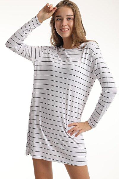 MD trend Kadın Beyaz Uzun Kollu Çizgili Basic Salaş T-shirt