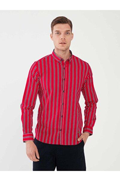 MCL Erkek Kırmızı Pamuklu Slim Fit Çizgili Gömlek