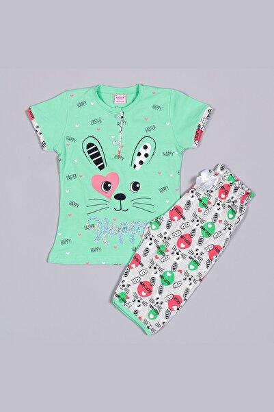 Tarık 1344 Yeşil Penye Tavşan Baskılı Nakışlı Kısa Kollu Kaprili Çocuk Pijama Takımı