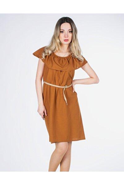 Vision Kadın Kahverengi Hasır Kemerli Elbise