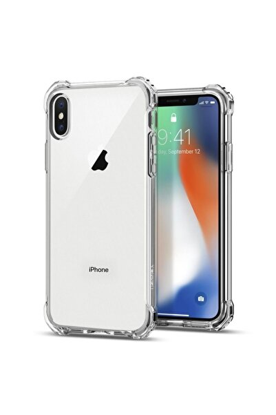 Teknoçeri Iphone Xs Max Şok Darbe Emici Şeffaf Silikon Kılıf