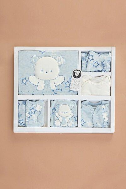 Fulla Moda Unisex Bebek Mavi Miniworld Baskılı 10'lu Takım