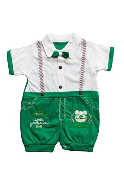 bebegen Erkek Bebek Yeşil Askılı Papyonlu Yazlık Tulum