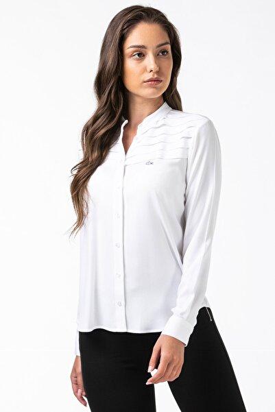 Lacoste Kadın Hakim Yaka Beyaz Gömlek CF2103