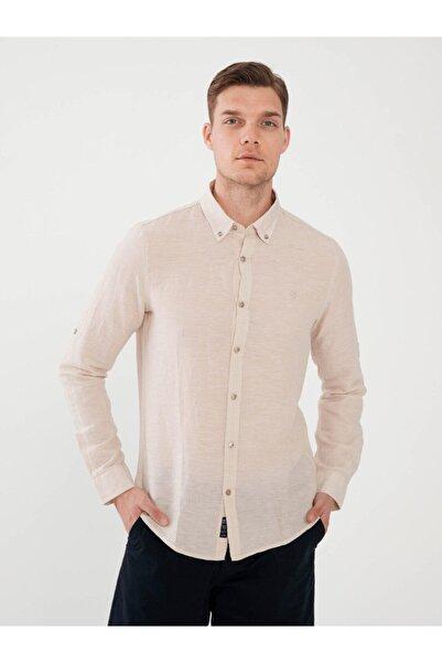 MCL Erkek Bej Keten Slim Fit Gömlek