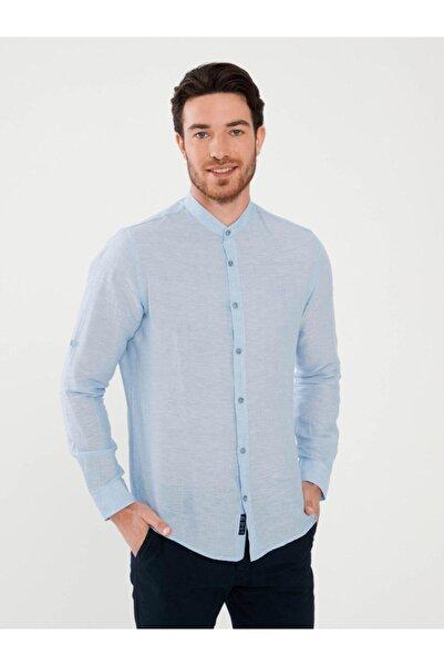 MCL Erkek Mavi Hakim Yaka Keten Slim Fit Gömlek