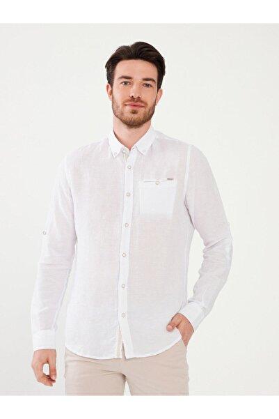 MCL Erkek Beyaz Keten Slim Fit Gömlek