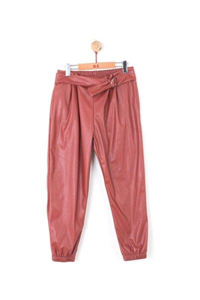 nk kids Kız Çocuk Turuncu Pileli Deri Pantolon 55029