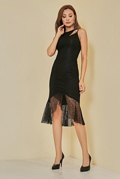 Sateen Kadın Siyah Volanlı Dantel Abiye Elbise