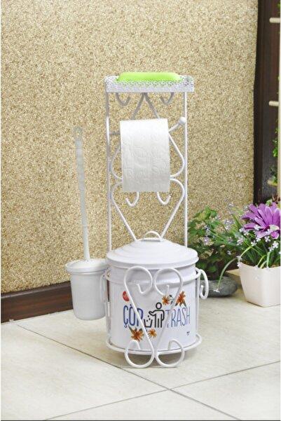 Yıldıray Metal Çöp Kovalı Telefon Raflı Ferforje Tuvalet Kağıtlığı Ve Fırça Seti