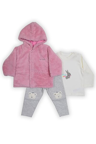 Pierre Cardin Baby Pierre Cardin Peluşlu Üçlü Bebek Takımı Pembe-gri