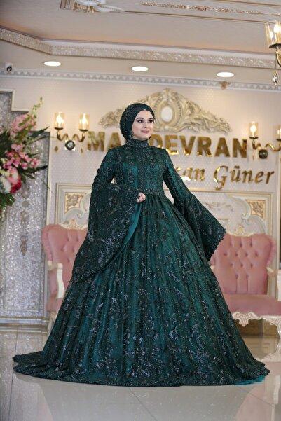 MAHİDEVRAN Kadın Yeşil Nişanlık Tesettür Gelinlik