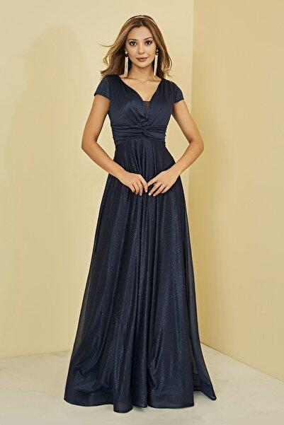 Sateen Kadın Lacivert Drapeli Uzun Abiye Elbise
