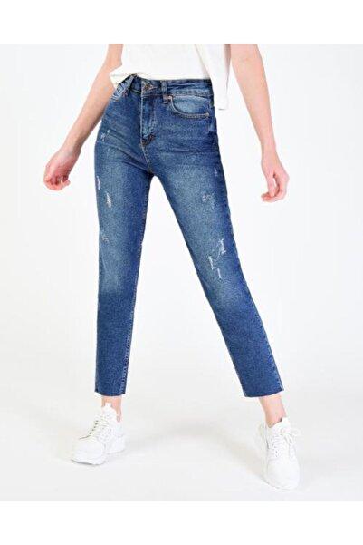 Vision Kadın  Mavi Paça Lazer Kesim Jean