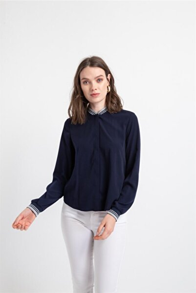 rue. Kadın Lacıvert Renk  Ribana Yaka Gömlek
