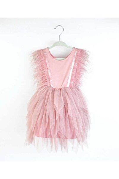 Le Mabelle Kız Çocuk Gülkuru Tüylü Elbise