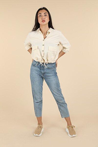 Oblavion Kadın Açık Mavi Yanı Şeritli Boru Paça Jean Pantolon
