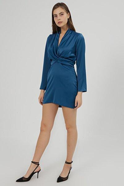 Y-London Kadın İndigo Kruvaze Yaka Bağlamalı Saten Elbise Y20W180-6541
