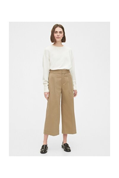 GAP Kadın Bej High Rise Wide Leg Khaki Pantolon