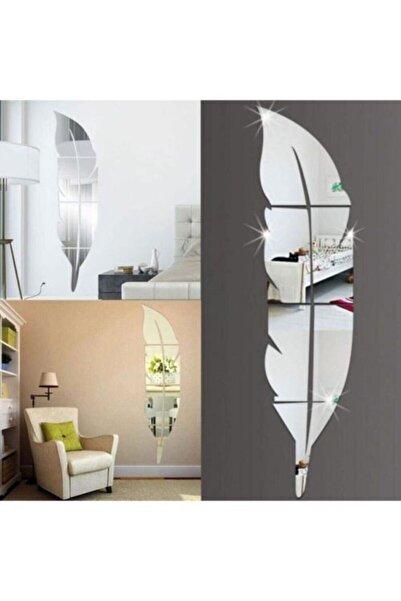 ONCA HEDİYELİK Dekoratif Duvar Dekorasyon Tüy Desen Gümüş Ayna Pleksi 35x140