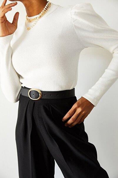 XENA Kadın Beyaz Omuzları Büzgülü Bluz 1KZK3-10750-01