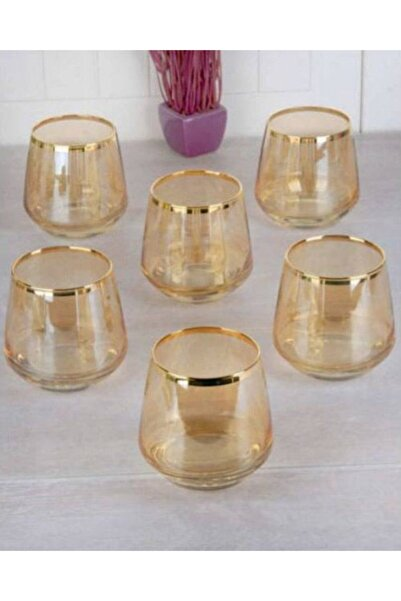 DiamondCrystal Lal Gold Bal Rengi Su Bardağı Takımı