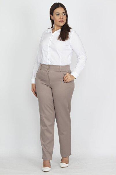 Şans Kadın Vizon Saten Kumaş Cep Detaylı Klasik Pantolon 65N19107