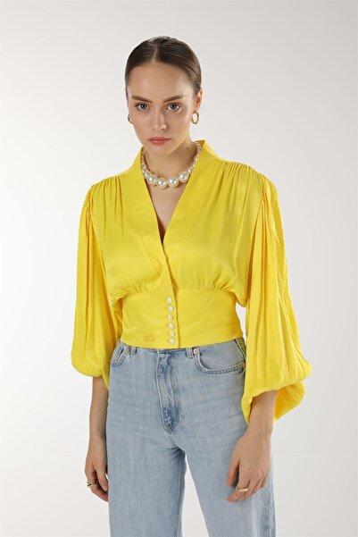 Oblavion Kadın Sarı Saten Crop Bluz